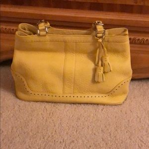 Yellow pebbles leather coach bag